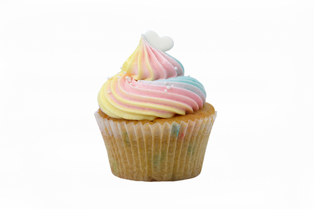 Cupcakes are beautifully decorated isolated on white background. Stock Photo
