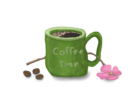 Illustration with Cup of coffee with flower isolated on white background,
