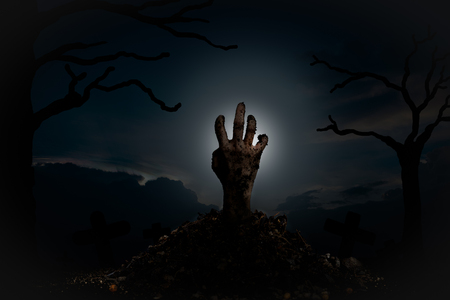 rising dead: The hands of the zombies emerge from the grave at night, full of spirit signs surrounded by dead trees. Halloween concept. Stock Photo