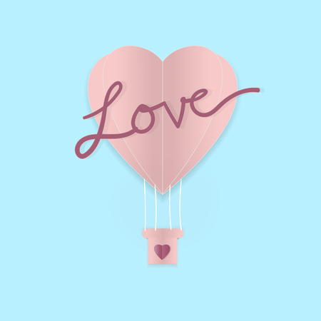 enamored: Valentines day balloon heart on blue blacground with love word, valentines concept.