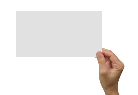 Hands holding a white blank poster for advertising on an isolated white background, concept and idea for business.