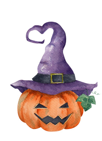 Jack o Lantern halloween pumpkin with purple witch hat, Halloween concept, Watercolor illustration on paper, isolated on white background.