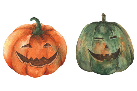 Two pumpkin by watercolor isolated on white background for Halloween concept.