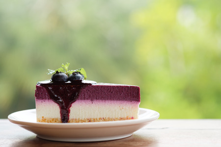 Blueberry Mousse Cake Topped with  fresh Blueberries and mint leaves.