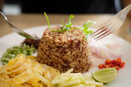 Shrimp Paste Fried Rice, This is a healthy Thai food. Stock fotó