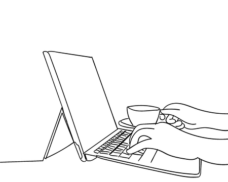 Line drawing of hands typing on laptop computer drawn by hand.