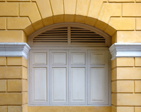 European Style Arch Window in Bangkok, Thailand. Stock Photo