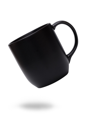 Black ceramic mug or Coffee cup with shadow isolated on white background.