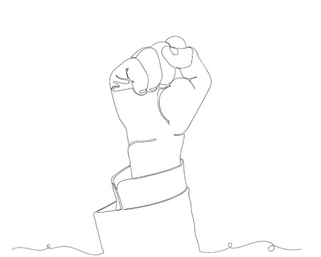 continuous line drawing of fist gesture. Illustration