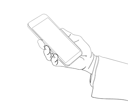 Continuous line drawing of finger touch smartphone, technology concept illustrated vector.