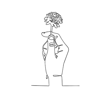 Continuous line drawing of hand holding dry flower for valentine concept. Illustration