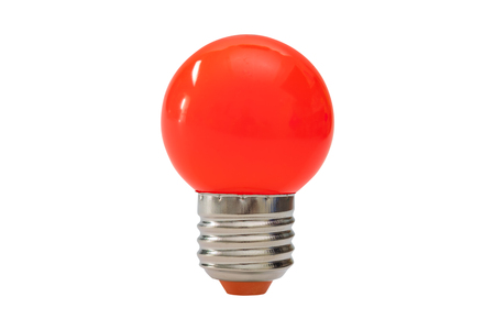 Red light bulb isolated on white background. Stock Photo