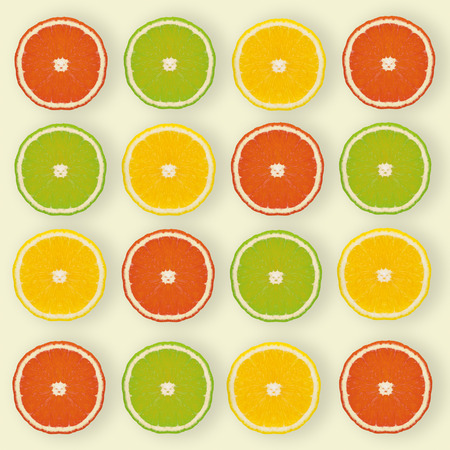 Flat lay-Pattern made of slices of lemon, lime on yellow background. summer idea concept.