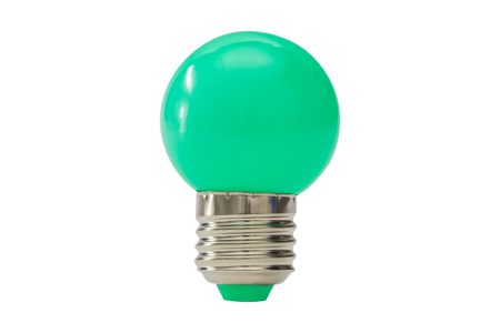 Green light bulb isolated on white background. Stock Photo