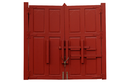 Double red door with iron handles and hinges isolated on white background. Stock Photo