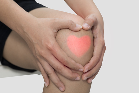 Man with knee pain, arthrosis of the knee. Stock Photo
