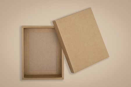 Opened cardboard box on a brown background.