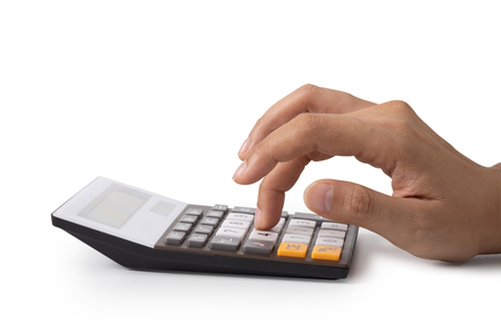 Hand is pressing the calculator, concept for Saving money, growing business and wealthy.