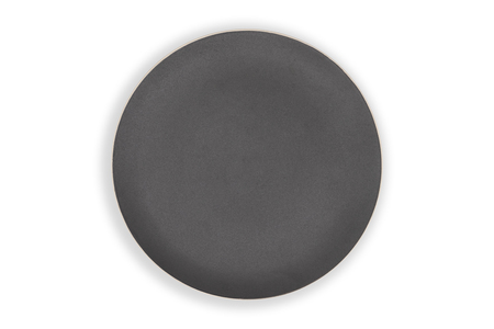 Top view-Empty black ceramic round dish plate isolated on white background. Reklamní fotografie