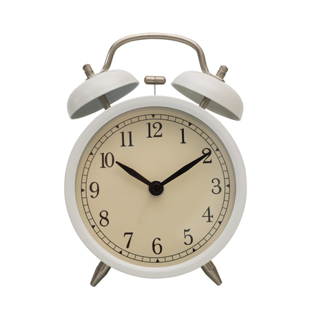 White alarm clock isolated on white background with clipping path.