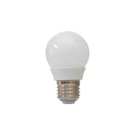 Close up of white light bulb isolated on white  background.