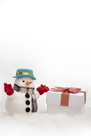 A snowman on white background with copy space for season greeting Merry Christmas, AF point selection,