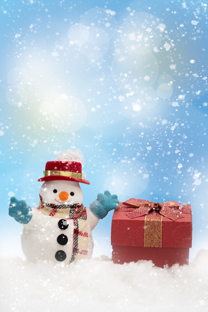 A snowman  on bokeh with copy space for season greeting Merry Christmas, AF point selection,