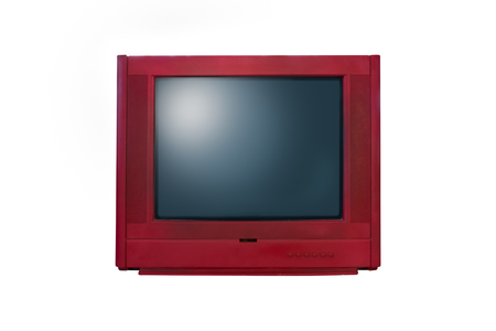 Retro old red television from 80s isolated on white background.
