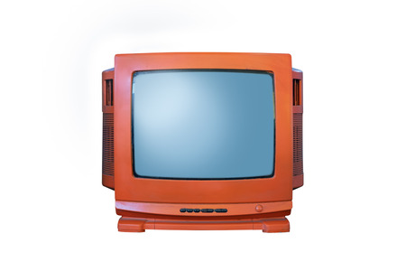Retro old orange television from 80s isolated on white background.