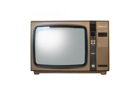 Retro old brown television from 80s isolated on white background. Reklamní fotografie