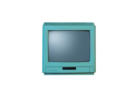 Retro old blue television from 80s isolated on white background.