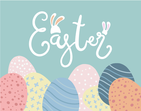 Happy Easter greeting card, festival banner and poster design. Ilustrace
