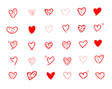 Set of hand doodle red hearts.