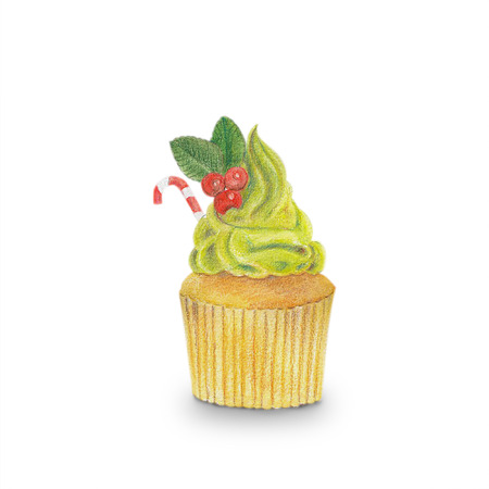 Hand-drawn watercolor of cupcakes isolated on white background, dessert food concept. Banco de Imagens