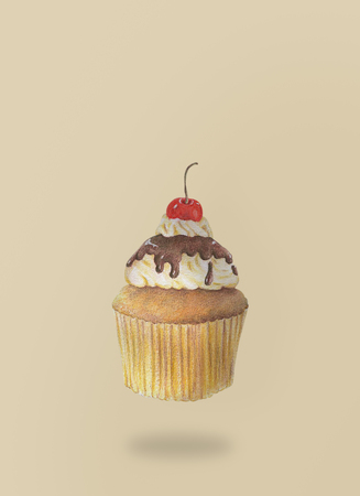 Hand-drawn watercolor of cupcakes is flying on brown background, dessert food concept.