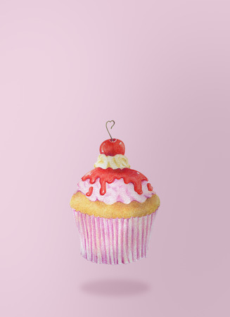 Hand-drawn watercolor of cupcakes is flying on pink background, dessert food concept.