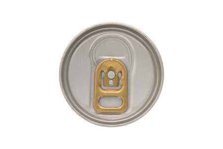 Close up of aluminum cans lid isolated on white background.