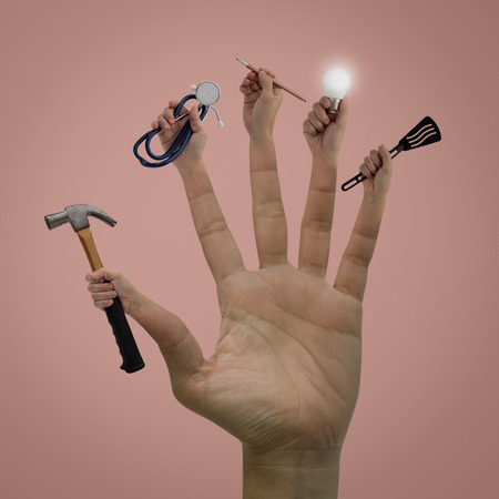 Contemporary art of Hands with a hammer, spoon, pen, lamp and stethoscope on pink bacground, Idea concept for career.