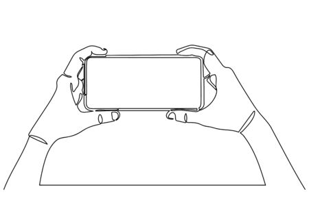 Continuous one line drawing of of hand holding smartphone.