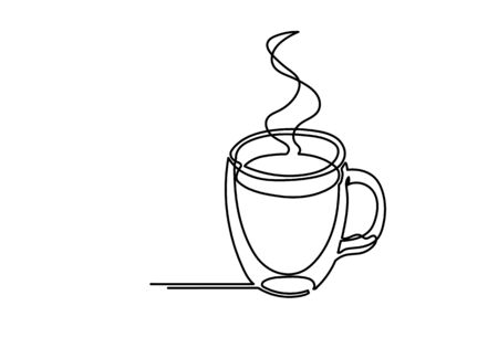 Continuous one line drawing of cup of coffee. Vector illustration. Illustration