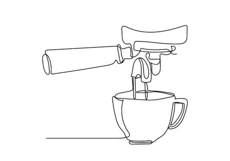 Continuous one line drawing of cup of coffee and machine. Vector illustration.