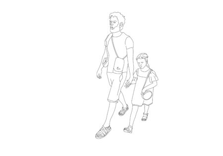Black line drawing of father and his daughter walking, Line art minimalist design on white background. Illustration