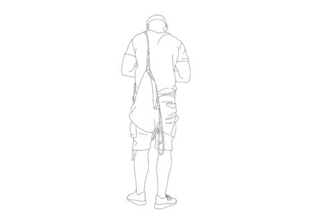 Black Line art sketch of a man is standing with backpacks, back view. Hand drawn illustration isolated on white background Illustration