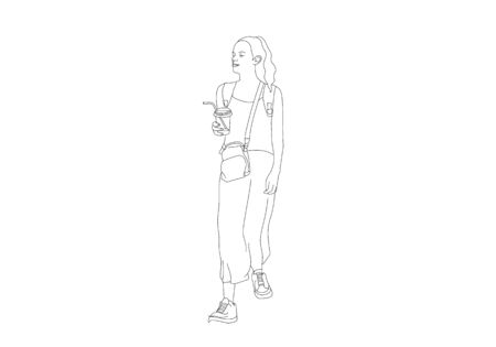 One line hand drawing of woman holding  bags and coffee on the street are shoping Illustration