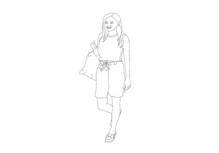 One line hand drawing of woman holding plastic bags on the street are shoping Illustrator picture.