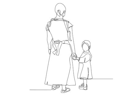 Black line drawing of mother and his daughter walking, Line art minimalist design on white background.