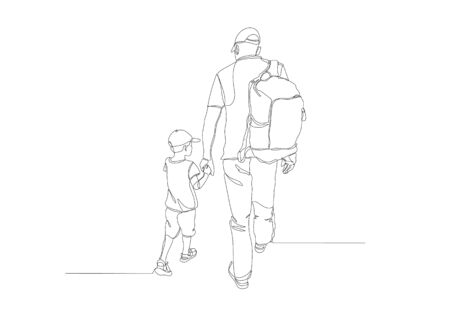 Black line drawing of father and his daughter walking , Line art minimalist design on white background.