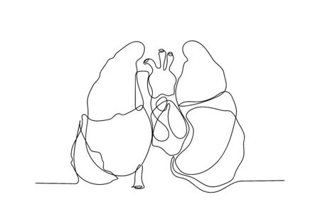 One continuous line of Coronavirus COVID-19 in lung Symptoms of disease. Illustration