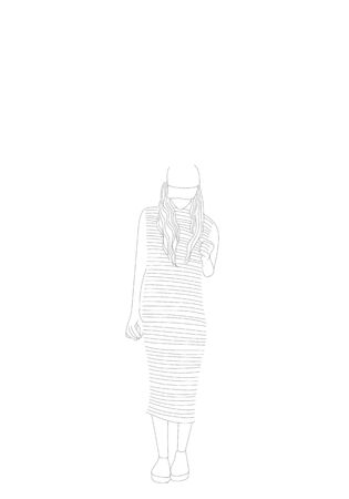 Trendy line drawing of standing young women Cartoon female flat figure, illustration picture.