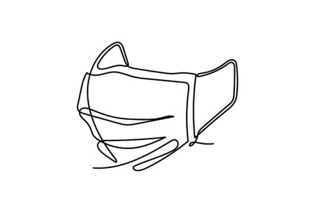 Continuous one line illustrations of Safety breathing Industrial safety N95 or covid-19 and corona virus masks.